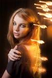Studio portrait of beautiful girl.bright lights. Stock Photography