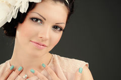 Studio portrait of beautiful girl. In fashion style royalty free stock image
