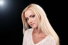 Studio portrait of beautiful girl. In fashion style stock photography