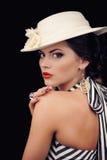Studio portrait of beautiful girl. On black background royalty free stock photo