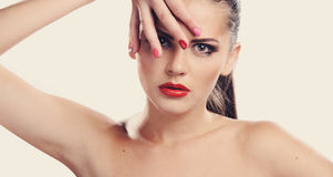 Studio portrait of beautiful girl with red lips. Studio portrait of beautiful girl in fashion style stock photos