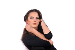 Studio portrait of beautiful girl on white background. Studio portrait of beautiful girl in fashion style stock images