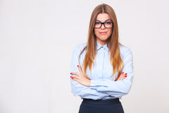 Studio portrait of beautiful young business woman Stock Images