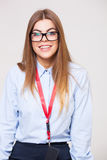 Studio portrait of beautiful young business woman Royalty Free Stock Photography