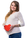 Studio portrait of beautiful young pregnant woman Royalty Free Stock Photo