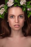 Studio portrait of beauty woman with circlet Royalty Free Stock Photos