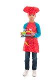Studio portrait boy as little cook Stock Photography