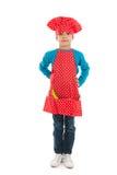 Studio portrait boy as little cook Stock Photo