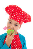 Studio portrait boy as little cook Royalty Free Stock Photo