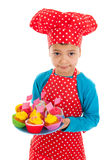 Studio portrait boy as little cook Royalty Free Stock Images