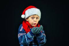 Studio portrait of a cheerful boy in Santa`s hat royalty free stock photography