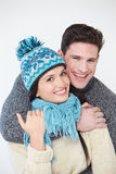 Studio Portrait Of Couple Wearing Warm Winter Clothes Stock Photos