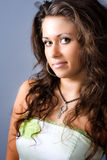 Studio portrait of cute nice beautiful woman royalty free stock photography