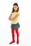 Studio Portrait Of Defiant Young Girl Stock Photos