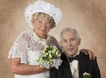 Studio portrait of an elderly couple Royalty Free Stock Image
