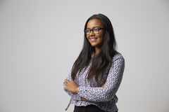 Studio Portrait Of Female Fashion Buyer Wearing Spectacles Stock Photos