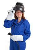 Studio portrait of a female welder isolated on white Stock Photography