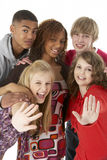 Studio Portrait Of Five Teenage Friends Royalty Free Stock Images