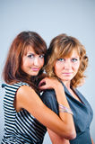 Studio portrait of girlfriends Stock Images