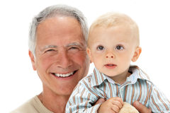Studio Portrait Of Grandfather Holding Grandson Royalty Free Stock Photos