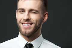 Studio portrait of handsome young businessman smiling and winkin Stock Image