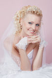Studio portrait of a happy bride Stock Images