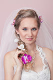 Studio portrait of a happy bride Stock Photo