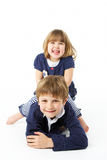 Studio Portrait Of Happy Brother And Sister Stock Images