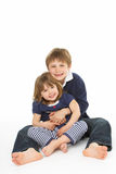 Studio Portrait Of Happy Brother And Sister Royalty Free Stock Image