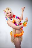 Studio portrait of lovely girl in hawai costume Stock Photo