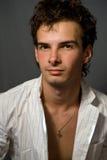 Studio portrait of one elegant handsome man royalty free stock image