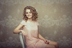 Pretty woman portrait in light interior Royalty Free Stock Images