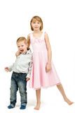 Studio portrait of siblings beautiful boy and girl Royalty Free Stock Photography
