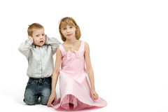 Studio portrait of siblings beautiful boy and girl Royalty Free Stock Photos