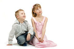 Studio portrait of siblings beautiful boy and girl Stock Photos