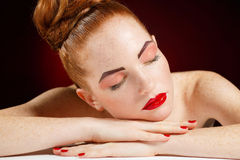 Studio portrait of sleeping woman Royalty Free Stock Images