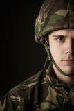 Studio Portrait Of Soldier In Uniform stock images