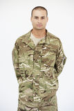Studio Portrait Of Soldier Wearing Uniform Stock Images