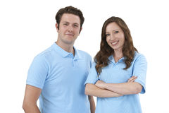 Studio Portrait Of Staff Wearing Uniform Against White Backgroun Royalty Free Stock Images