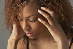 Studio Portrait Of Stressed Teenage Girl. Close up at camera royalty free stock photos