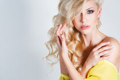 Studio portrait of a stunning beauty blonde. stock photo