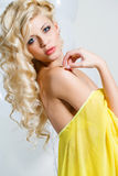 Studio portrait of a stunning beauty blonde. Royalty Free Stock Photo