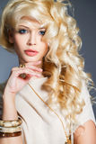 Studio portrait of a stunning beauty blonde. Stock Photos