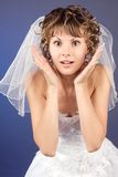 Studio portrait of the surprised young bride Stock Image