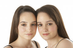 Studio Portrait Of Teenage Twins Stock Photo