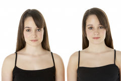 Studio Portrait Of Teenage Twins Royalty Free Stock Photos