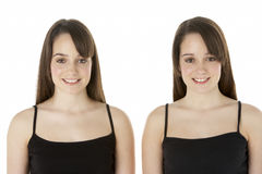 Studio Portrait Of Teenage Twins royalty free stock images
