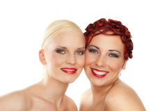 Studio Portrait of Two Young Women Royalty Free Stock Photos