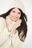 Studio Portrait Of Woman Wearing Warm Winter Clothes Stock Photography