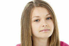 Studio Portrait of Worried Teenage Girl Stock Image